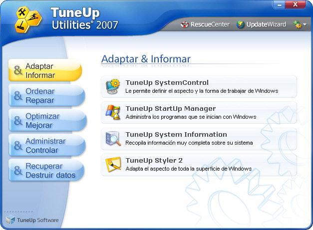 Ventana principal de TuneUp