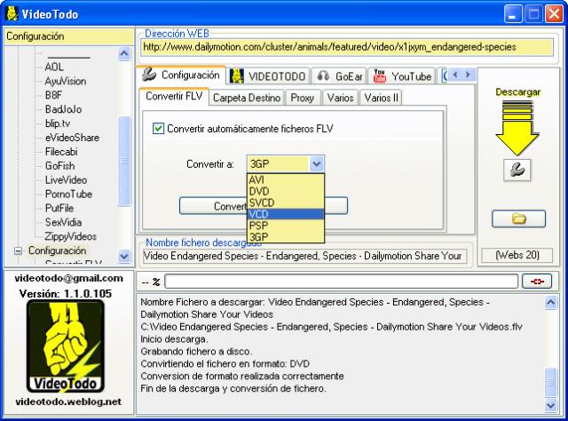 Captura de pantalla del programa VideoTodo (en español)